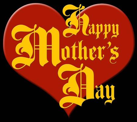 plastic heart: Rosso cuore di plastica con la scritta Happy Mother's Day in vecchi fraktur tipografico