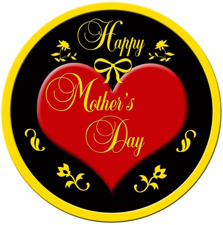 gratulation: Decorative badge with a red plastic heart and a golden border with the decorative lettering MOTHERS DAY Stock Photo