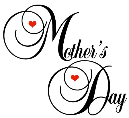 may: Decorative black Lettering Mothers Day with little red hearts on a white background Stock Photo