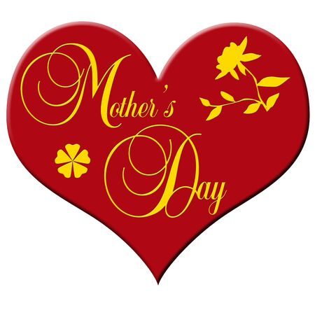 gratulation: red plastic heart with decorative lettering MOTHERS DAY Stock Photo