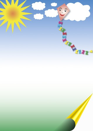 background with blue sky, sun and a laughing paper kite Stock Photo