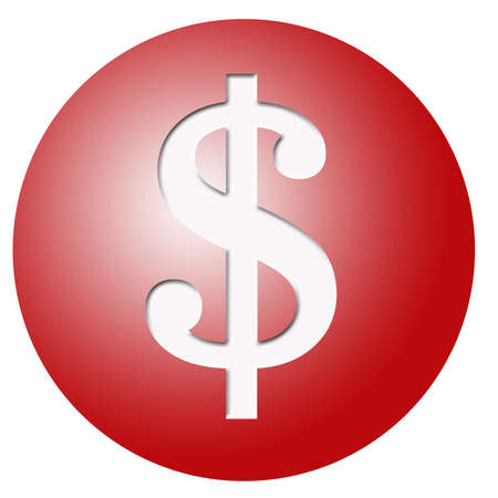 red round plastic button with a big white dollar  sign photo