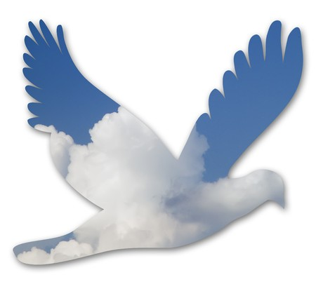 dove out ouf blue sky and clouds on white background Stock Photo