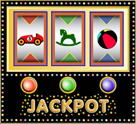 lucky break: colorful slot machine with toys