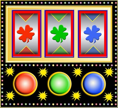 colorful slot machine with clover leafs photo