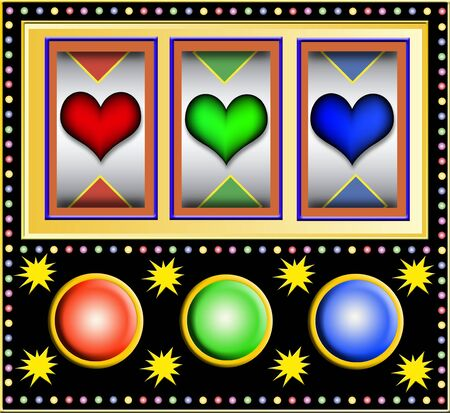 las vegas lights: colorful slot machine with hearts Stock Photo