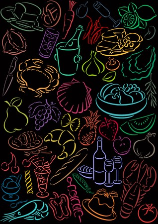 black background with colored food symbols