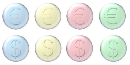 glass buttons with the euro sign photo