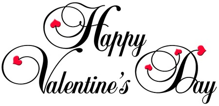 happy valentines day in a decorative typeface with little red hearts