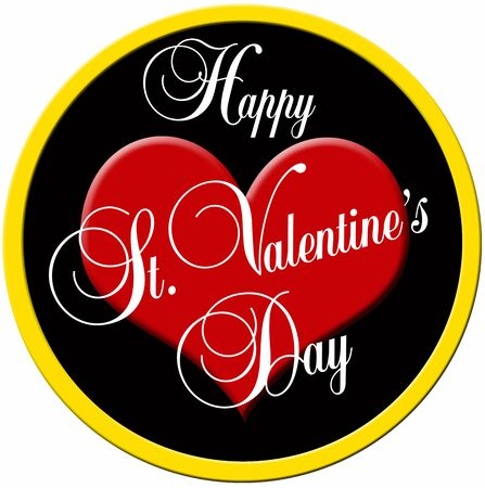 gratulation: colorful round badge with red heart and the lettering happy valentines day Stock Photo