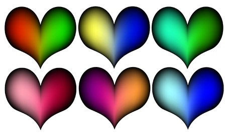 coloful: six coloful hearts Illustration