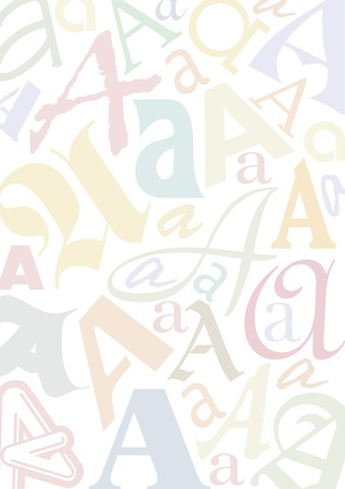 typefaces: background with the letter A in different typfaces, sizes and pastell colors