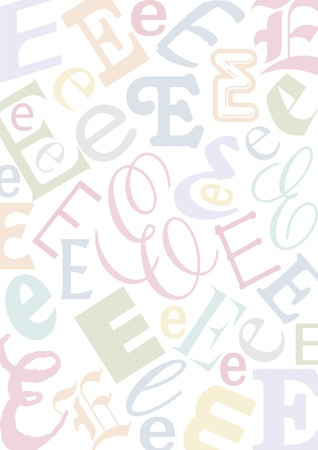 typefaces: background with the letter E in different typfaces sizes and pastell colors Illustration