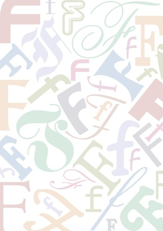 typefaces: background with the letter F in different typfaces sizes and pastell colors