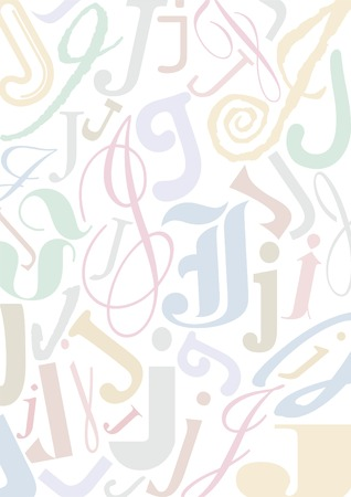 typefaces: background with the letter J in different typfaces sizes and pastell colors Illustration