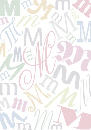 typefaces: background with the letter M in different typfaces sizes and pastell colors