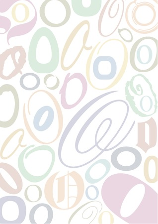 typefaces: background with the letter O in different typfaces sizes and pastell colors Illustration