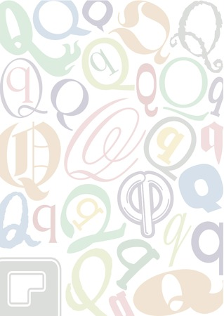 typefaces: background with the letterQ in different typfaces sizes and pastell colors