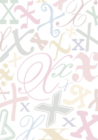 typefaces: background with the letter X in different typfaces sizes and pastell colors