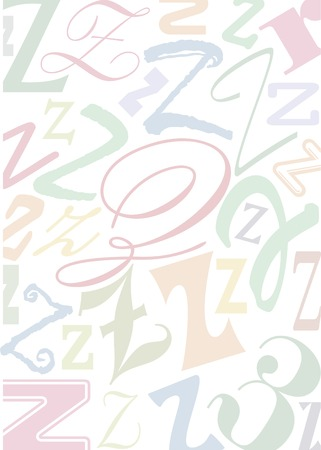 typefaces: background with the letter Z in different typfaces sizes and pastell colors Illustration