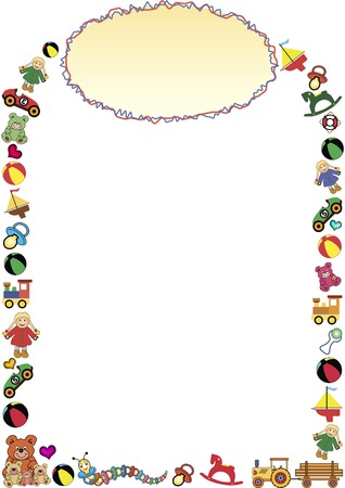 children caterpillar: colorful frame out of little toys and a gradient oval frame in the top