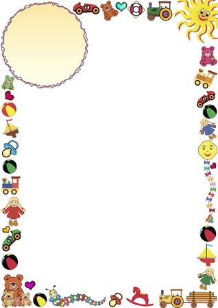 colorful frame out of little toys and a gradient round  frame in the top Vectores