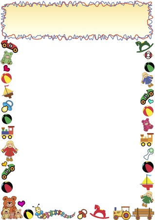 children caterpillar: colorful frame out of little toys and a gradient frame in the top Illustration