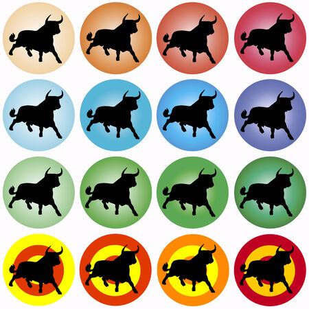 eyecatcher: black bull on different colored circles