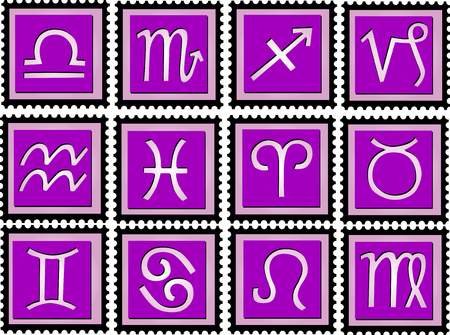 stamps with purple colored signs of the zodiac Vector
