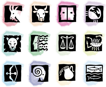 round pastell colored splotches with signs of the zodiac