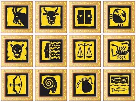 golden decorative squares with signs of the zodiac