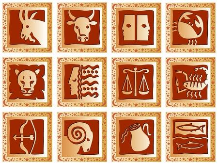 예측: golden decorative squares with brown signs of the zodiac 일러스트