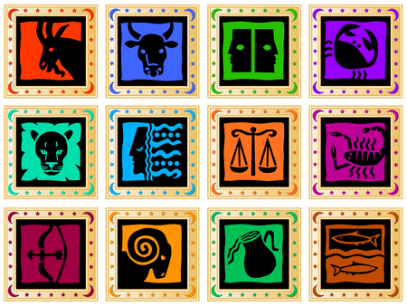 decorative golden frames with signs of the zodiac