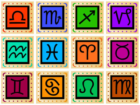 decorative golden frames with signs of the zodiac Stock Vector - 4688963