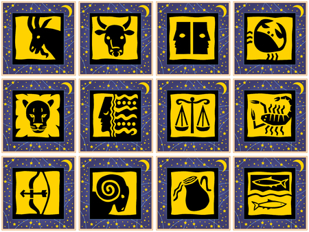 Blue golden squares with golden stars and golden signs of the zodiac Illustration