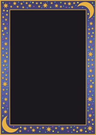 작은 별과 달이있는 파란색 그라디언트 테두리