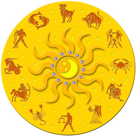 astrol�gico: Insignia de oro redonda con signos del Zodiaco Foto de archivo