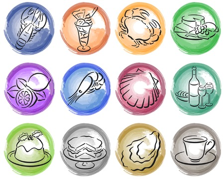 splotches: round painted splotches with white food symbols