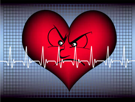 readout: red heart with a white cardiogram line is looking angry Stock Photo