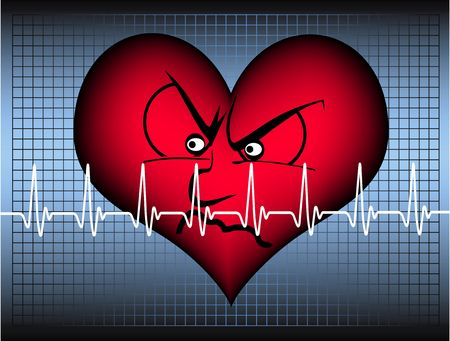 red heart in front of a blue grid and behind a white cardiogram line is looking angry Stock Photo - 4862368