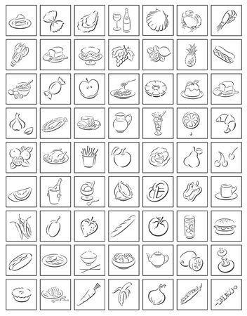 fine print: collection of white squares with food symbols Stock Photo