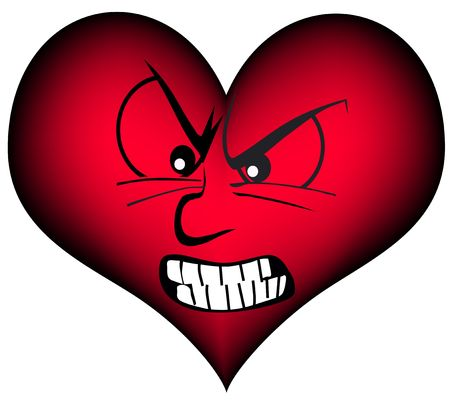 red heart is very angry