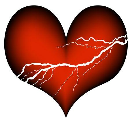 plastic heart: cuore rosso di plastica con i segni di un attacco di cuore