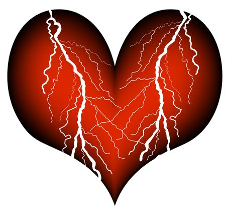 heart with the drastic signs of a heart attack photo