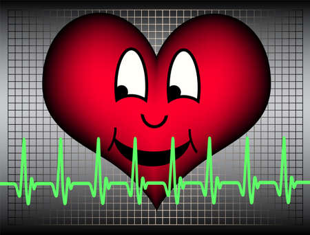 Red heart laughing and a green cardiogramm line Stock Photo - 4862373