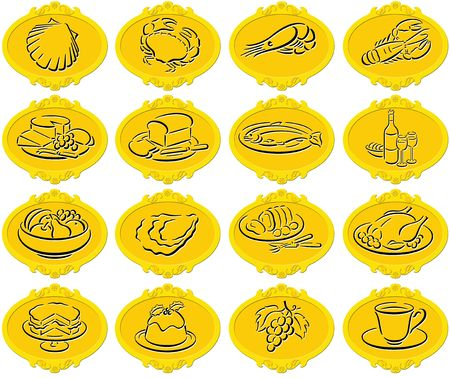 golden oval badges with food symbols photo