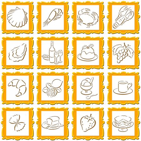 golden decorative squares with food symbols photo