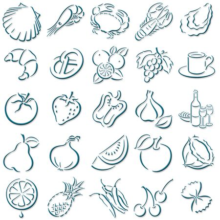 collection of darkblue shadowed food symbols