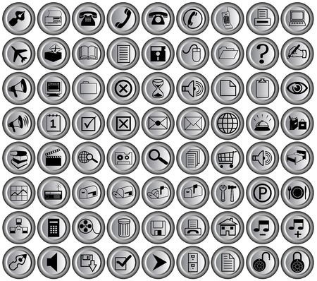 round metallic office buttons for print and web Vectores