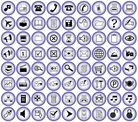 B�ro runden blauen Buttons in iquid Optik f�r Print und Web Illustration